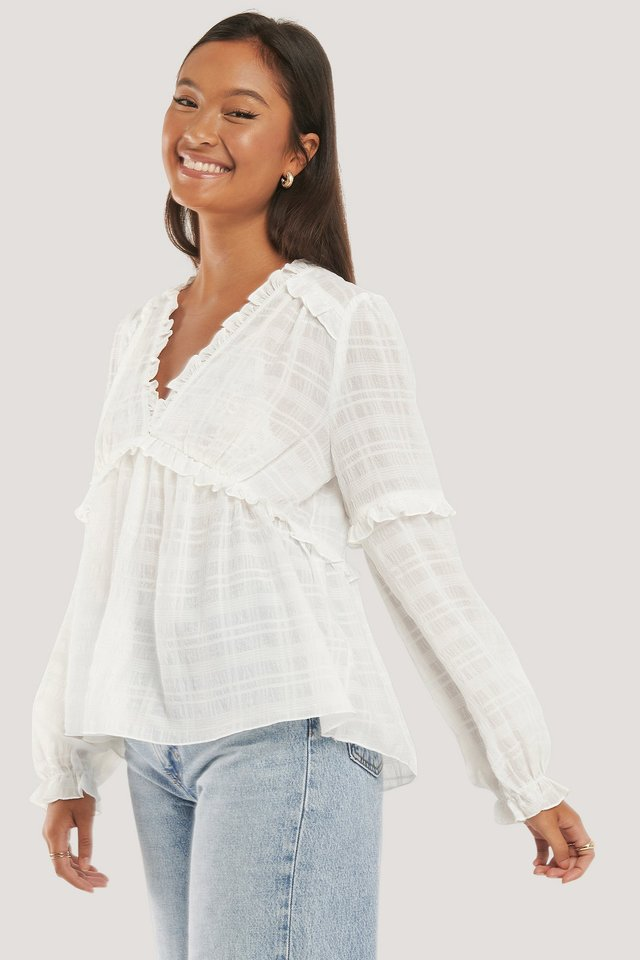 Structured Frill Blouse White