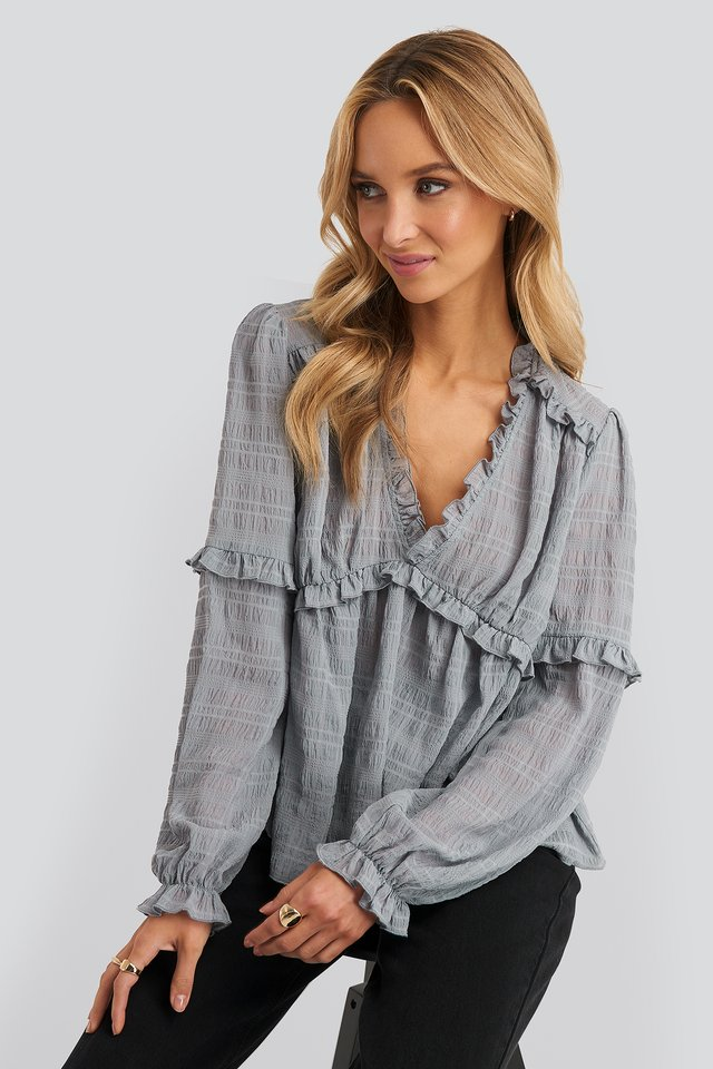 Structured Frill Blouse Stone Blue