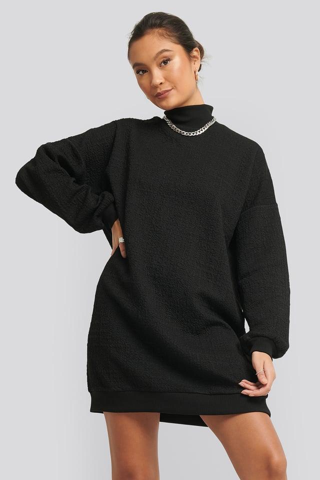 Structured High Neck Sweat Dress Black