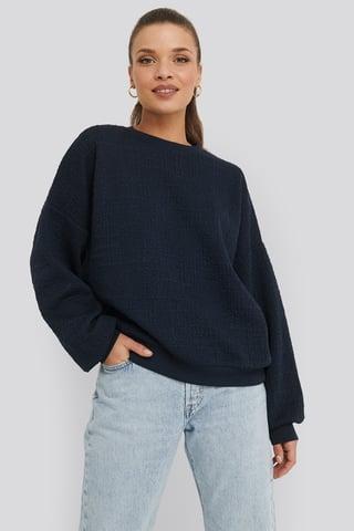 Navy Structured High Neck Sweater