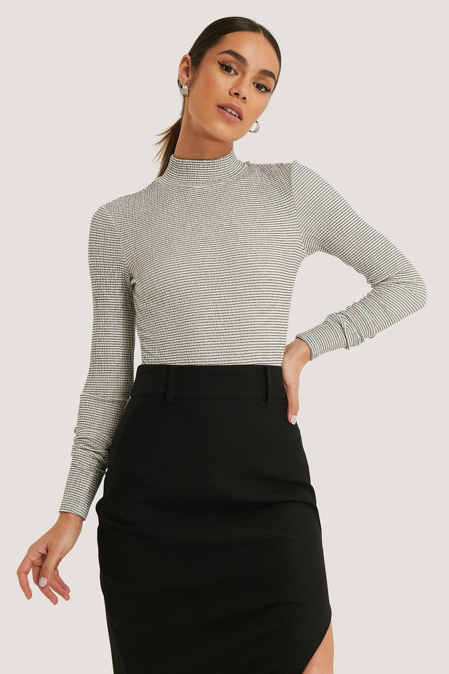 Structured High Neck Top White/Black