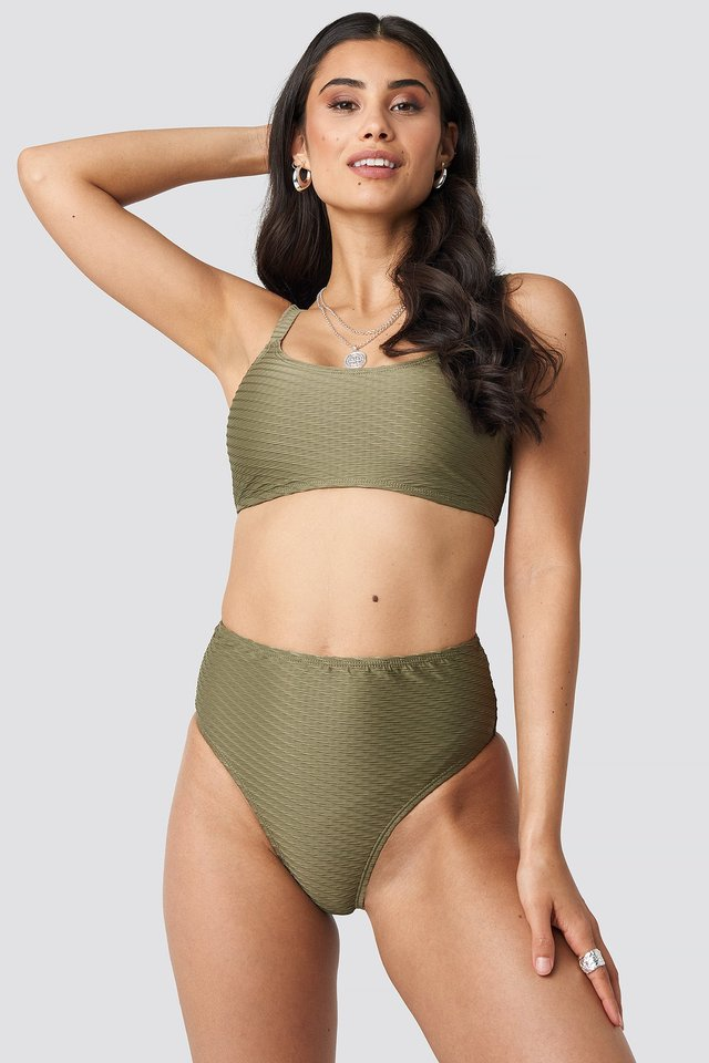 Structured High Waist Bikini Panty Khaki