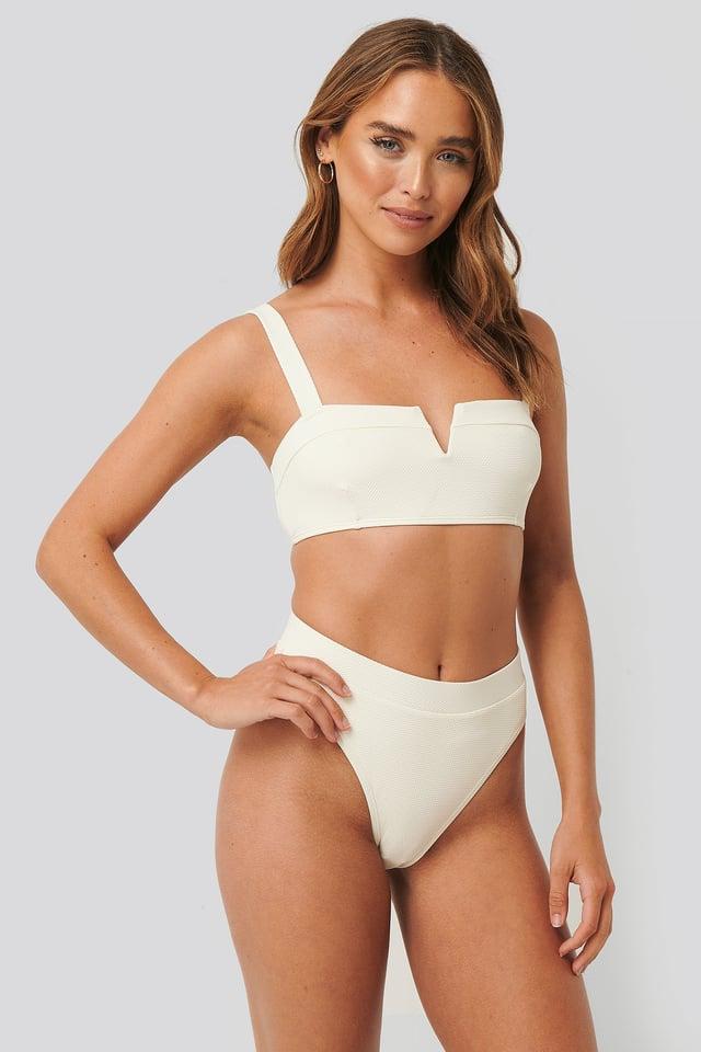 Structured Highcut Bikini Panty Offwhite