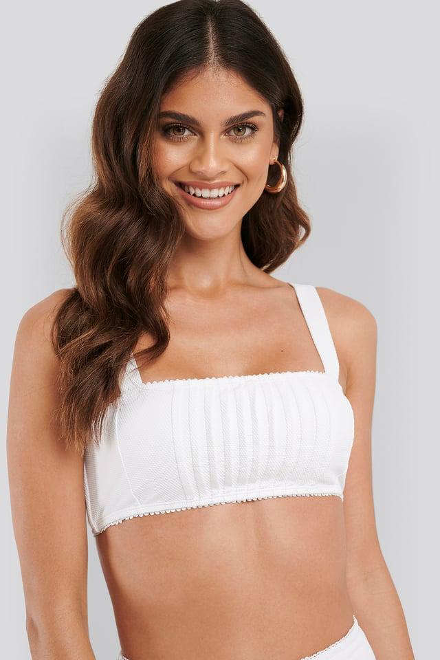 White Structured Lace Edge Bikini Top