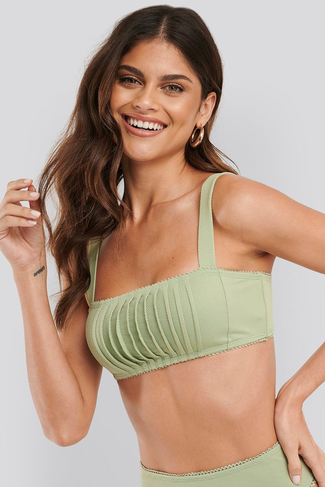 Structured Lace Edge Bikini Top Dusty Green