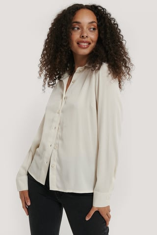 White Structured Long Sleeve Blouse