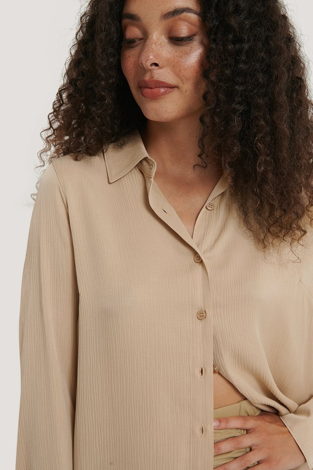 Structured Long Sleeve Blouse Beige