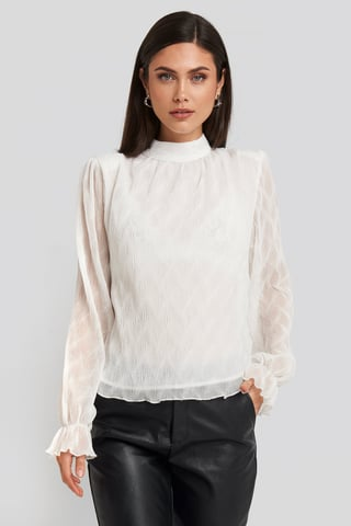 White Structured Marked Shoulder Blouse