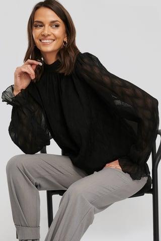 Black Structured Marked Shoulder Blouse