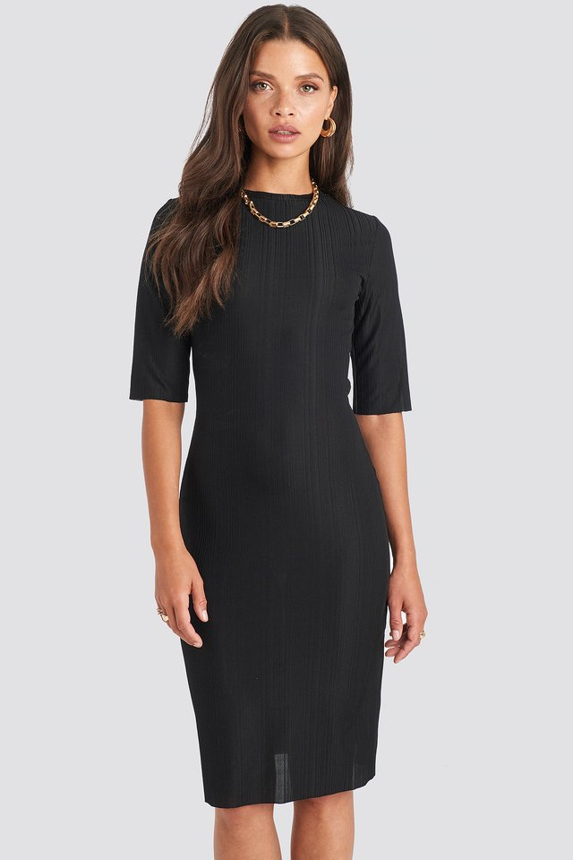 Structured Midi Dress Black