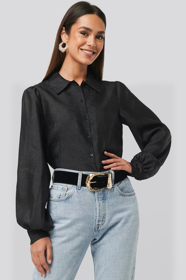 Structured Organza Balloon Sleeve Blouse Black