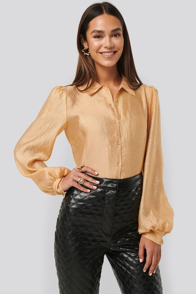 Structured Organza Balloon Sleeve Blouse Peach