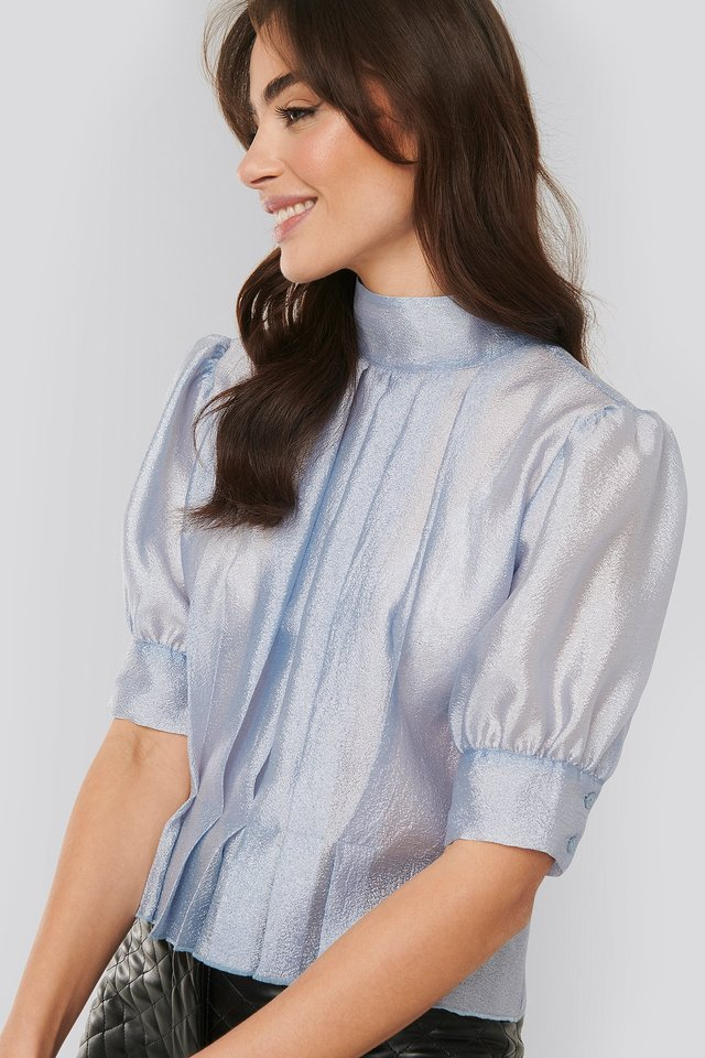 Structured Organza Gathered Blouse Light Blue