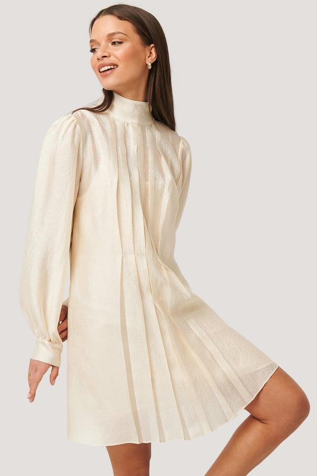 Structured Organza Gathered Mini Dress Cream