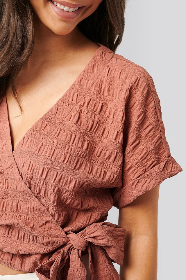 Structured Overlap Blouse Pink