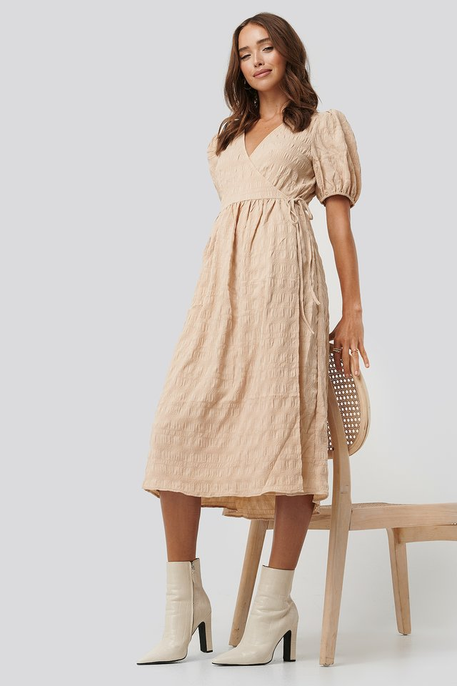 Structured Overlap Midi Dress Beige