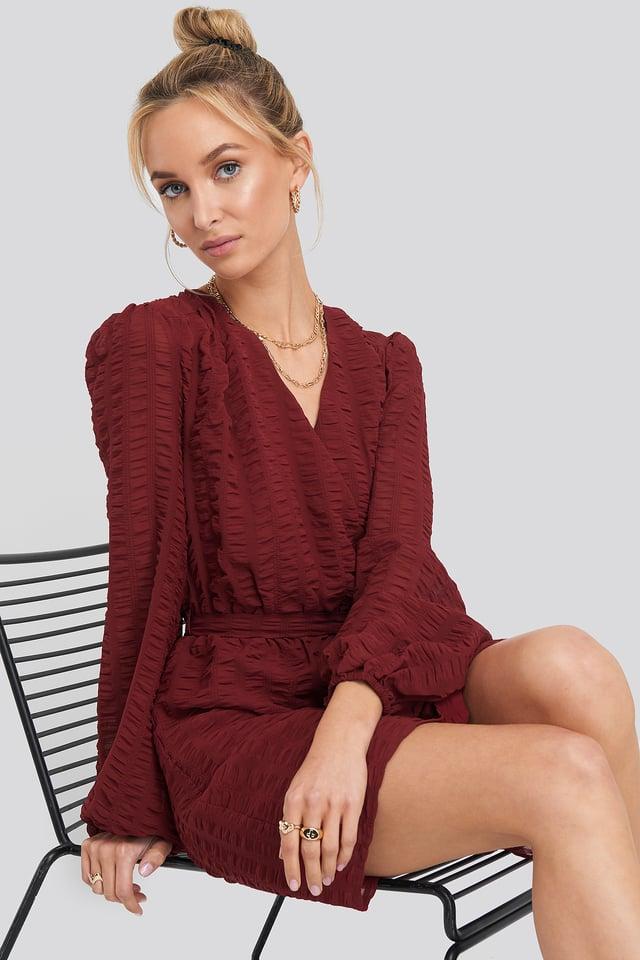 Structured Overlap Mini Dress Burgundy