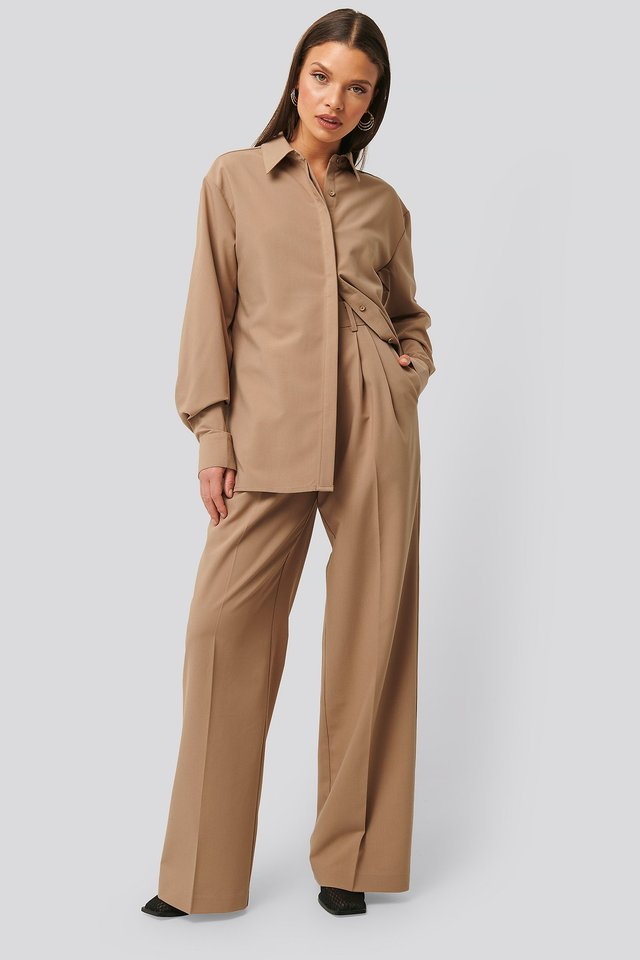 Structured Pants Beige