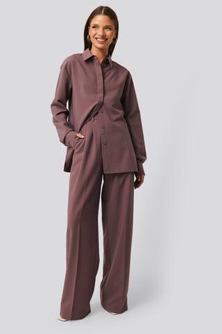 Dusty Lilac Kostymbyxor Med Struktur