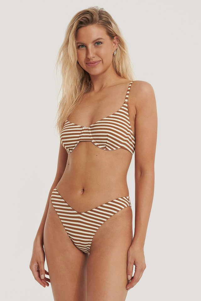Pop Bikinitrosa Med V-Skärning Och Struktur Brown/Pearl Stripes