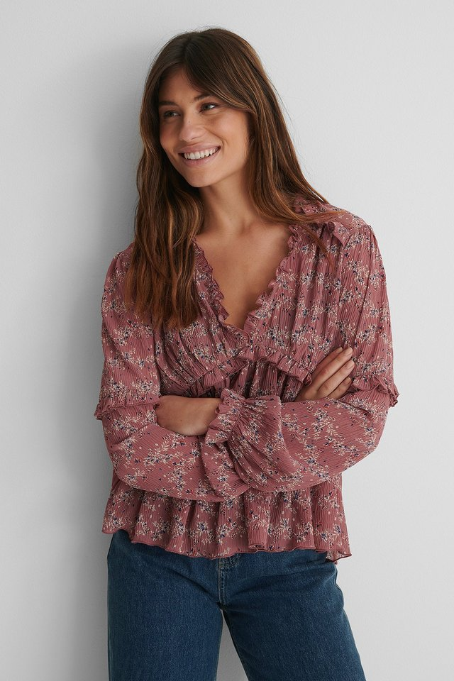 Pink Print Structured Printed Frill Blouse