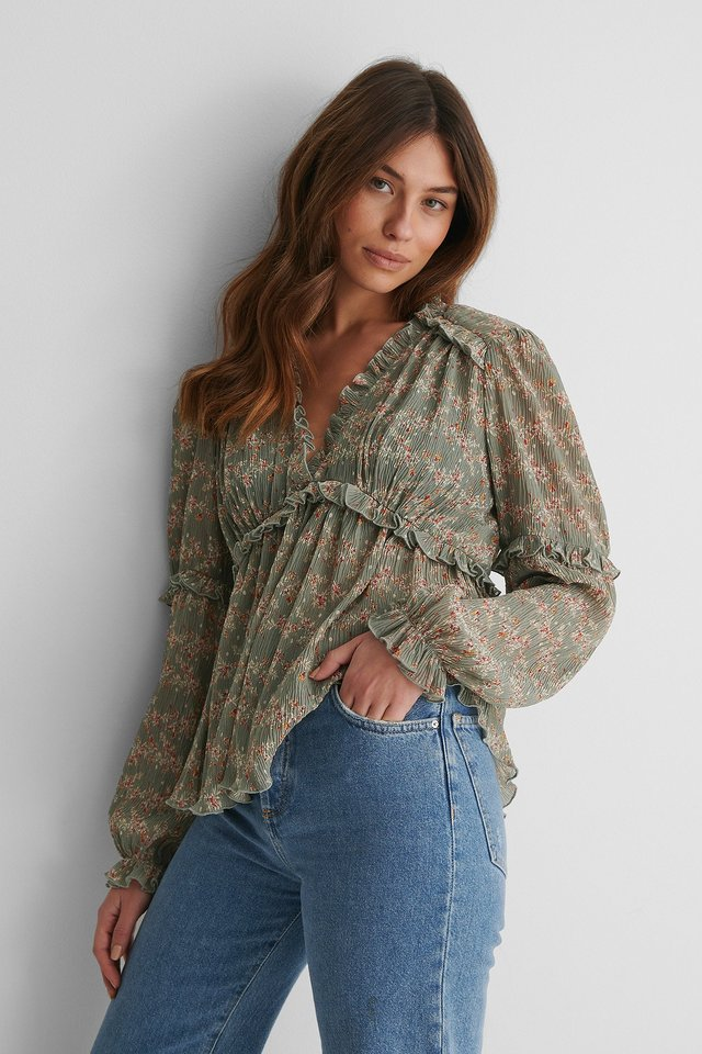 Green Print Structured Printed Frill Blouse