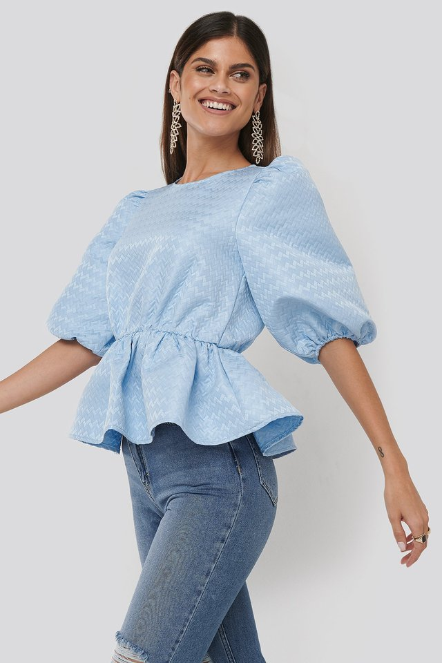 Structured Puff Blouse Blue