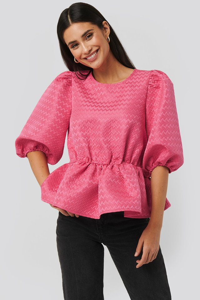 Structured Puff Blouse Fuchsia