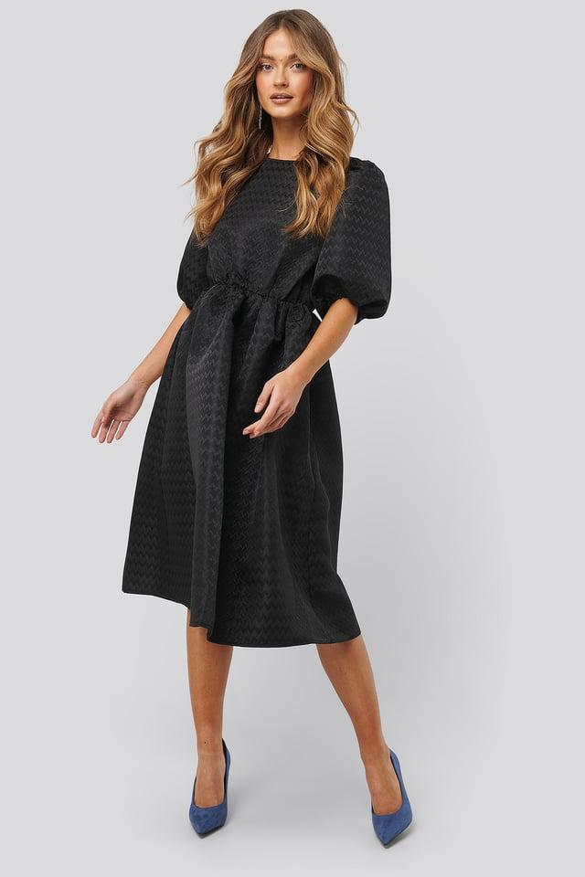 Structured Puff Dress Black