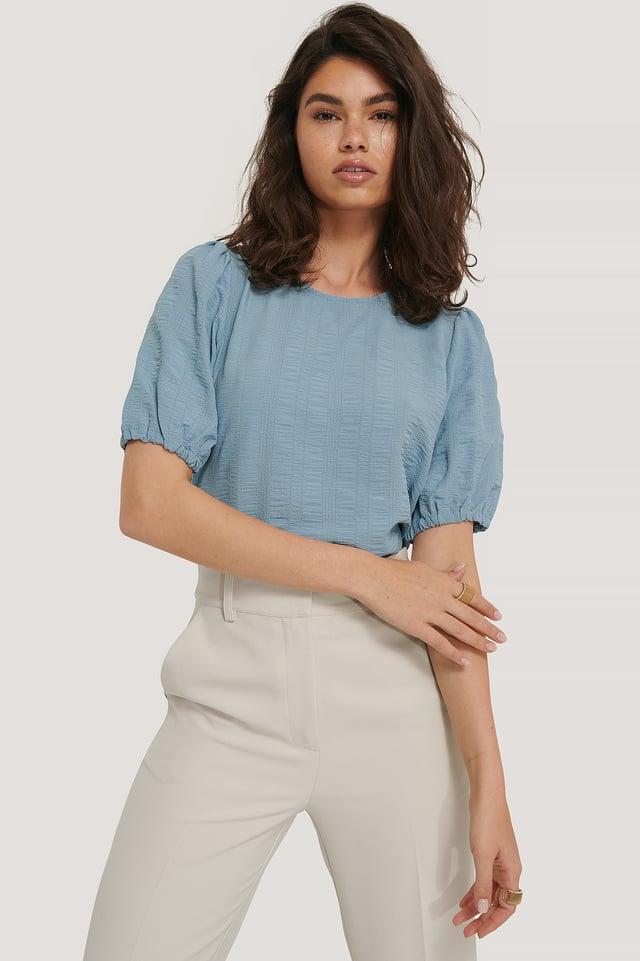 Dusty Blue Strukturierte Kurzarm-Bluse