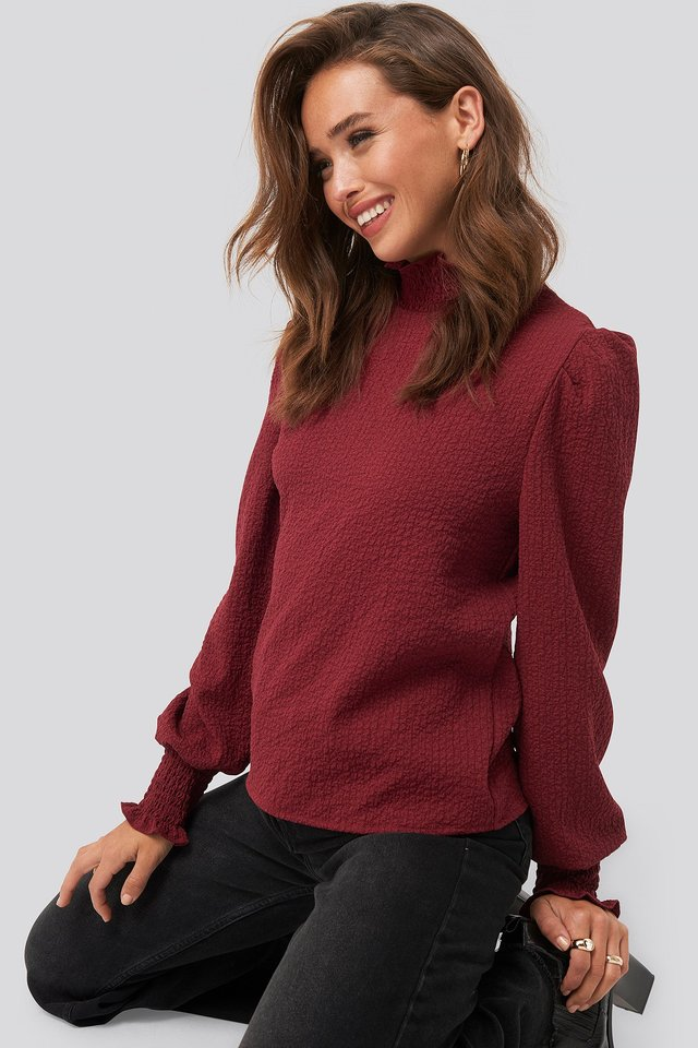 Structured Smock Detail Blouse Dark Red