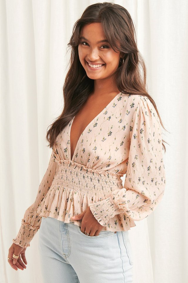 Structured Smock Waist Blouse Dusty Pink
