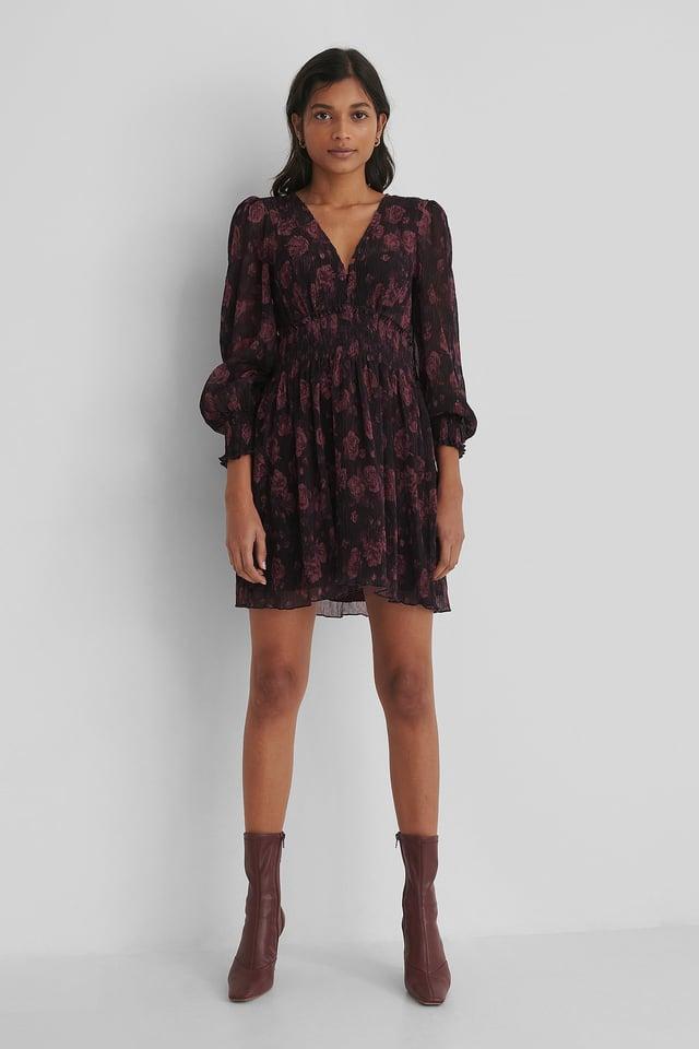 Structured Smock Waist Dress Burgundy
