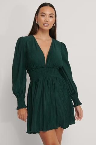 Emerald Green Structured Smock Waist Dress
