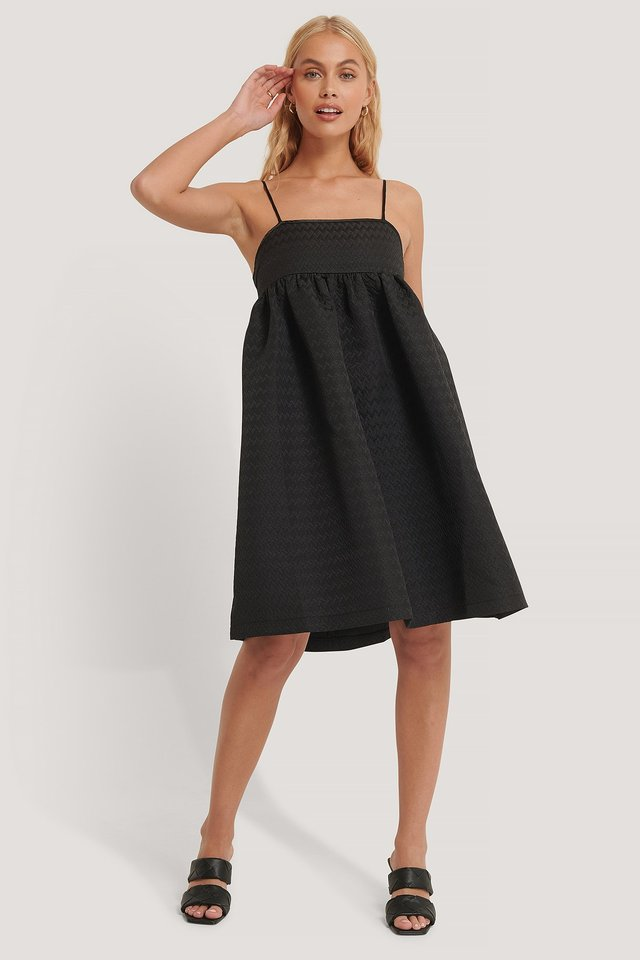 Structured Strap Dress Black