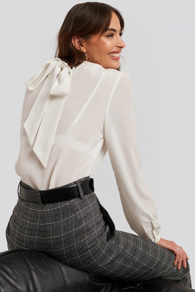 Structured Tie Back Blouse White