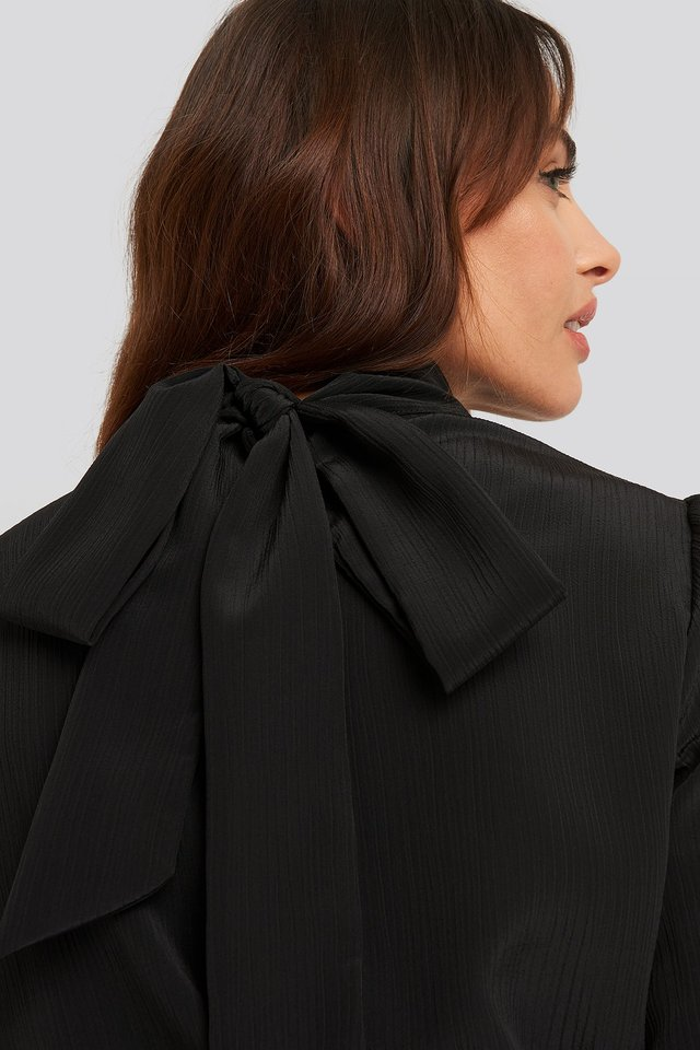 Black Structured Tie Back Blouse