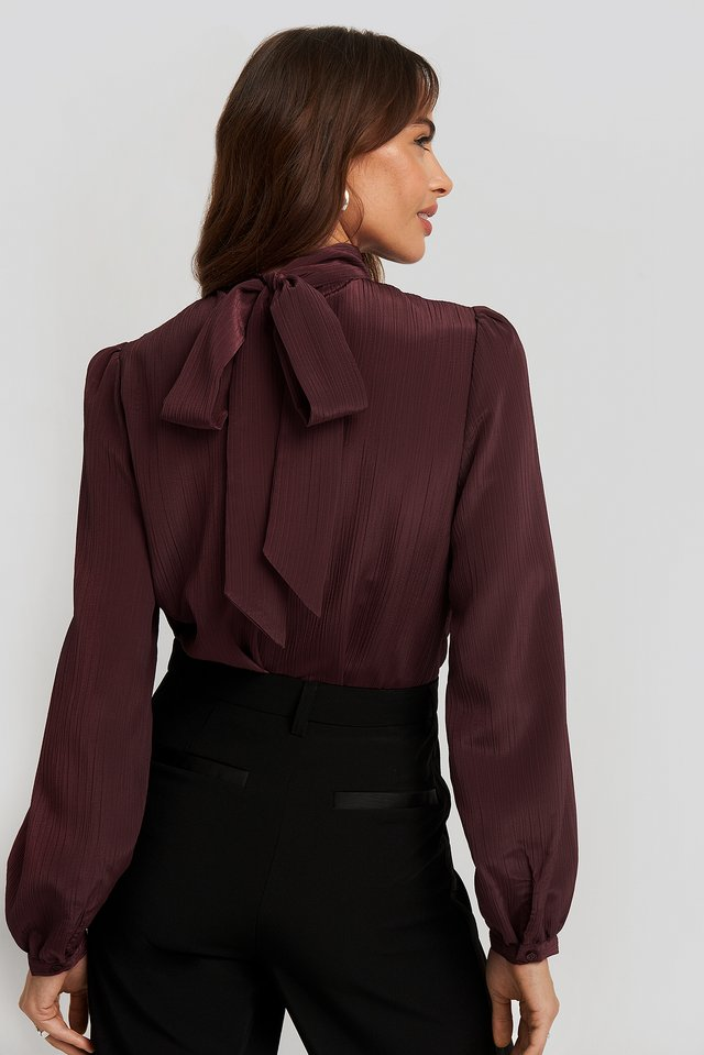 Structured Tie Back Blouse Burgundy