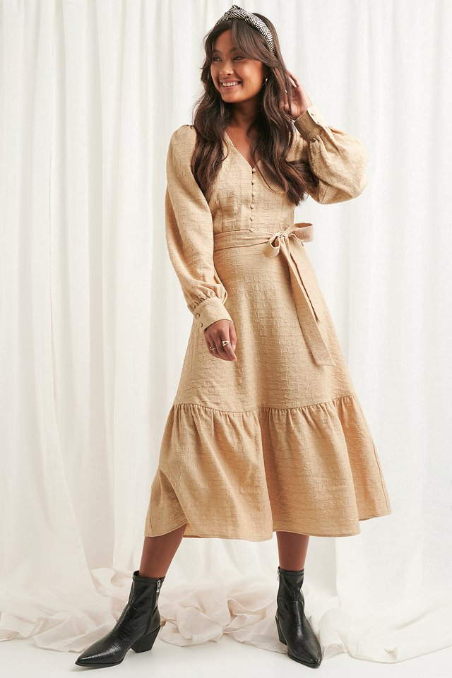 Structured Tie Waist Dress Light Beige