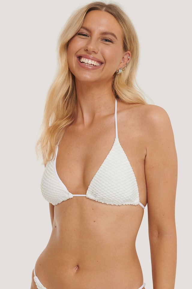White Structured Triangle Bikini Top