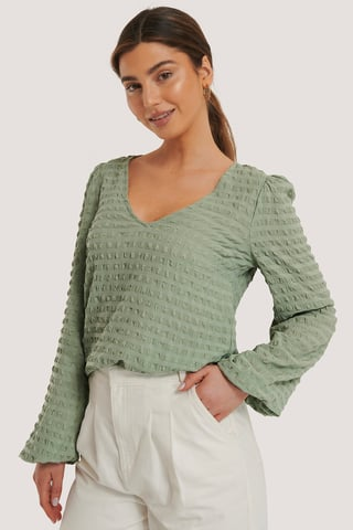 Green Structured V-Neck Blouse