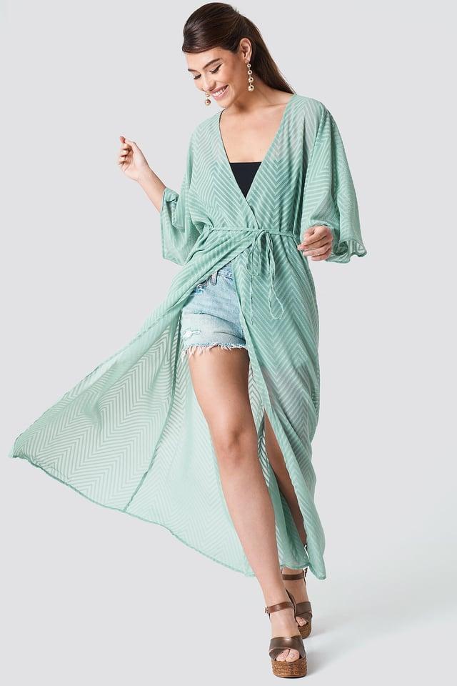 Structured Chiffon Coat Dress Dusty Green