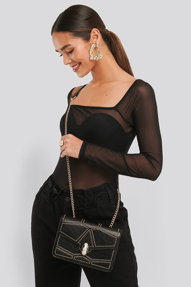 Black/Gold Studded Crossbody Chain Bag