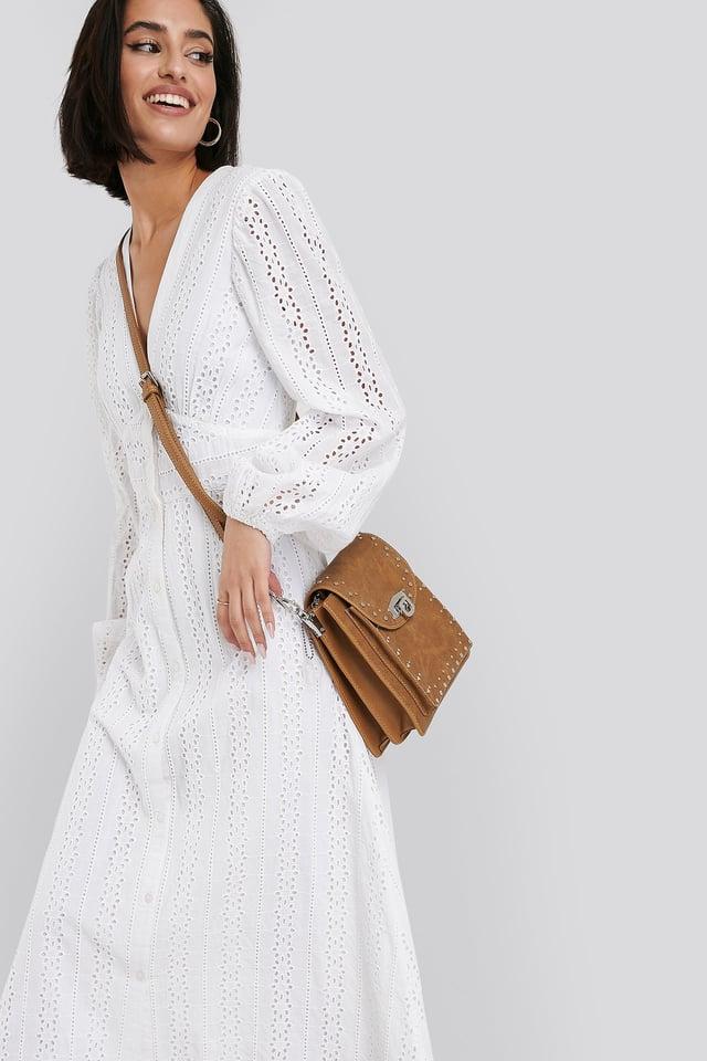 Studded Shoulder Bag Brown