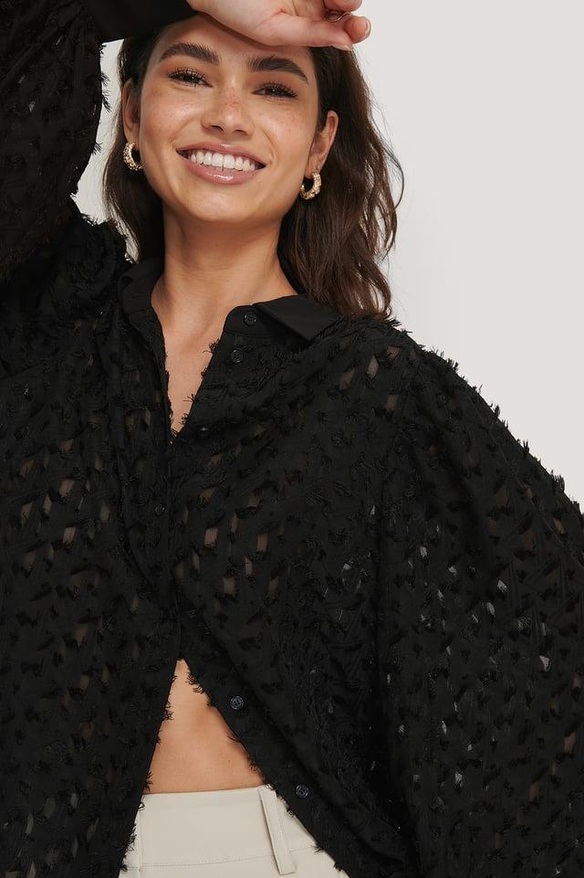 Black Skjorta Med Knappar