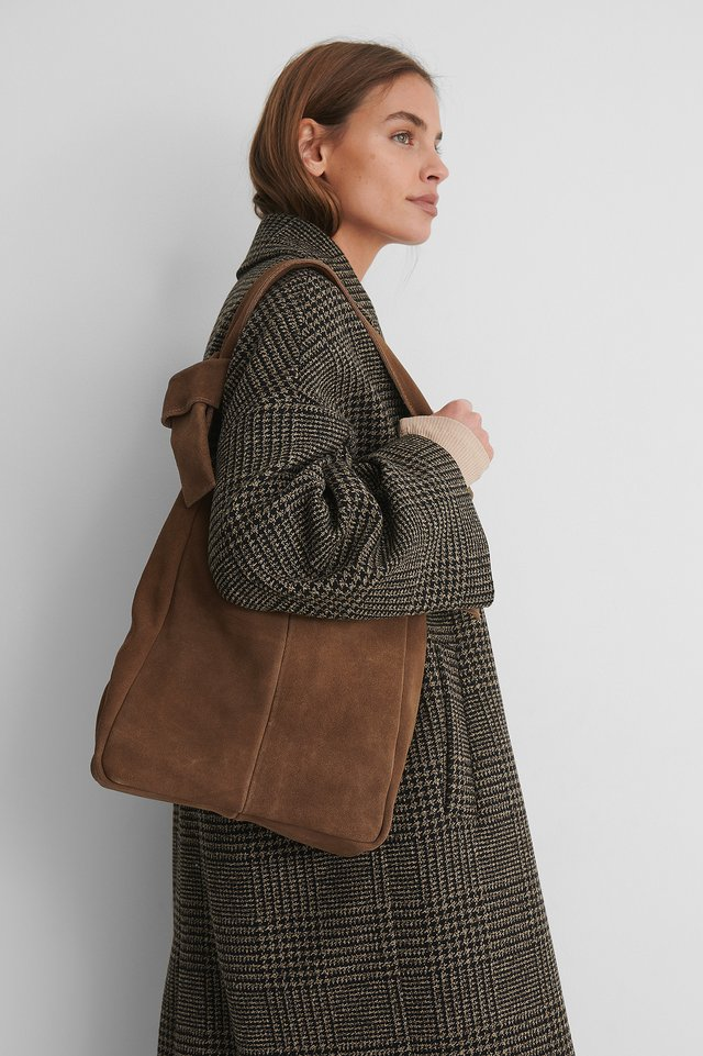 Brown Suede Knot Hobo Bag