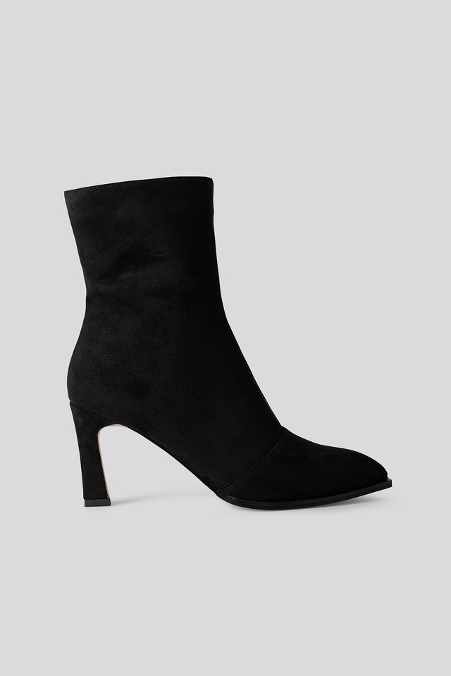 Suede Look Heeled Boots Black