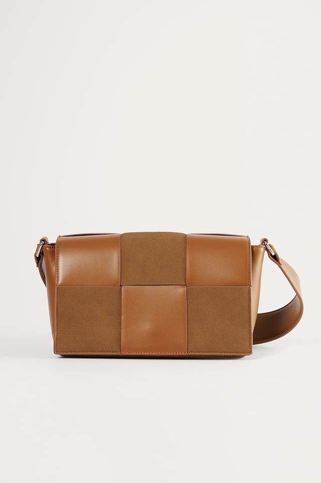 Brown Suede Look Woven Bag