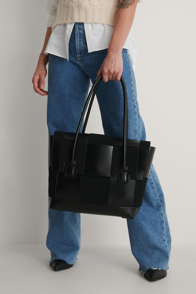 Black Suede Look Woven Shopper