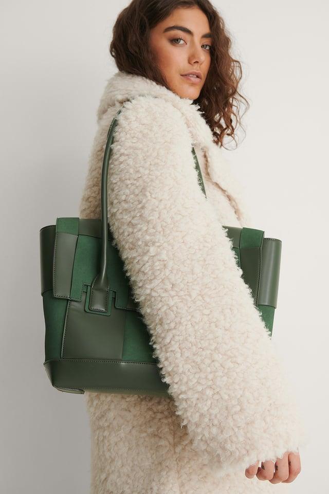 Green Suede Look Woven Shopper